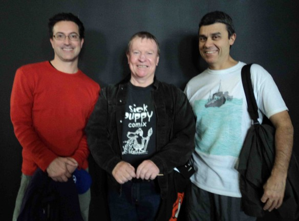L to R: Tim McEwen, Doctor Comics(wearing Sick Puppy Comix T-shirt), Cefn Ridout. (Photo by Louise Graber)