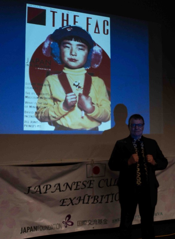 Lecturing on the global spread of Japanese pop culture in the 1980s. (Photo by Louise Graber)