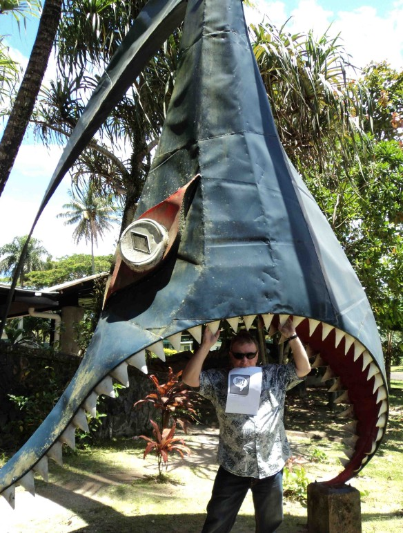 Doctor Comics in  shark jaws at the University of the South Pacific. (Photo by Louise Graber)