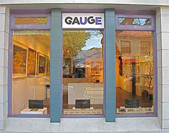 Looking through the GAUGE Gallery window at the Blotting Paper exhibition. (Photo-© 2013 Michael Hill)
