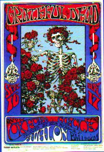 Bones and roses in 1966 Grateful Dead poster Skeleton and Roses designed by Alton Kelley and Stanley Mouse.