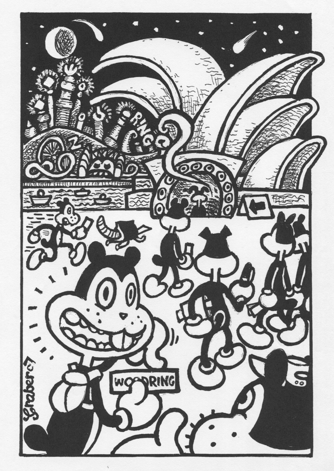 Woodring at the Sydney Opera House homage cartoon by Louise Graber.