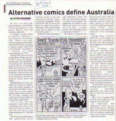 Peter Giesinger article in UTS News International with comic strip by Anton Emdin.
