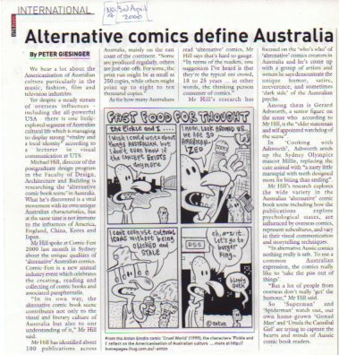 Peter Giesinger article in UTS News International with comic strip by Anton Emdin.