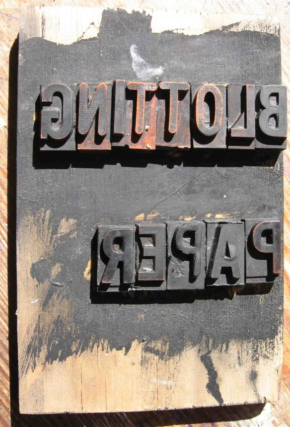 Uninked title block drying in the sun-© 2011 Michael Hill.