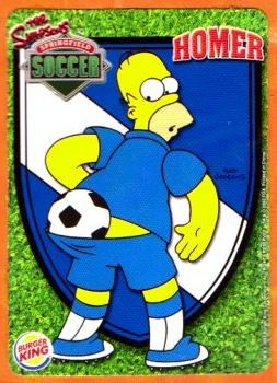 Springfield's finest-Homer with ball-Simpsons soccer trading card.
