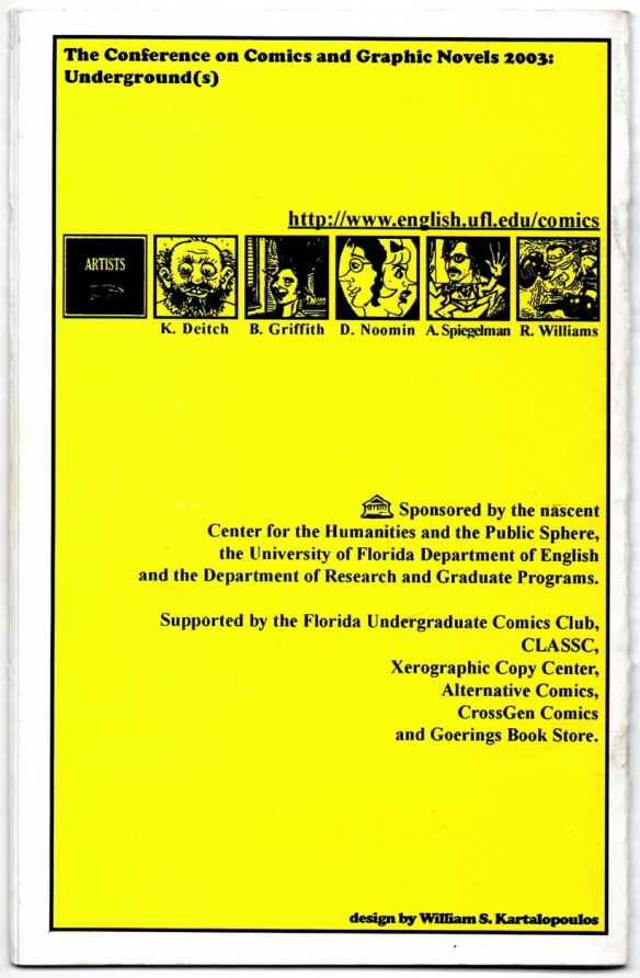 Back cover of Underground(s) conference program. (Design by William S. Kartalopoulos)