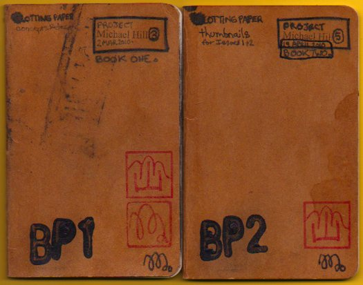 Two of the smaller note books in which design ideas and thumbnails were developed.