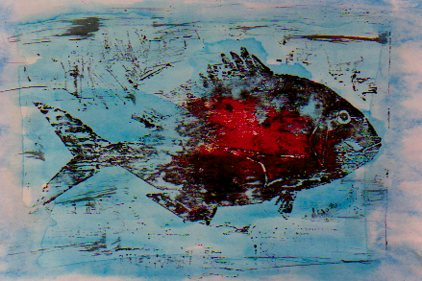 Bloody fish (woodblock print-© 2000 Michael Hill)