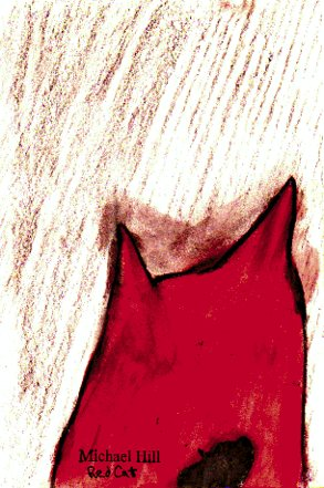 Red cat-possible design for one of the feline characters (pencil and ink drawing-© 2010 Michael Hill)