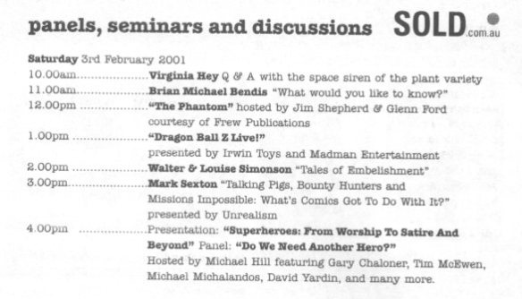 Saturday seminar details with my involvement  in the superheroes panel.