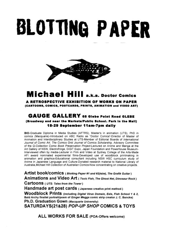 Press Release for Blotting paper exhibition.
