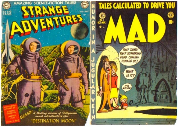 Two of the comics in the  collection, both No.1's, Strange Adventures (1950) and MAD (1952).