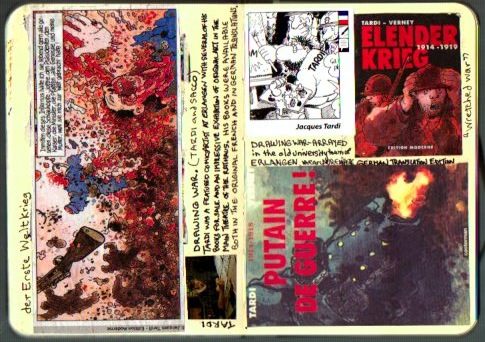 Pages from my Germany journal with Tardi press clippings and sticker (© 2014 Michael Hill).