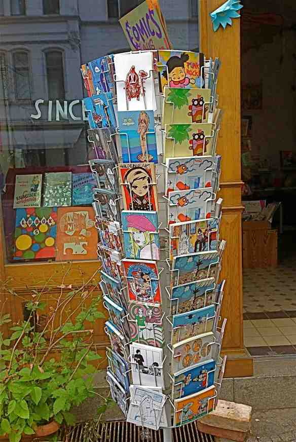 Postcard rack at Renate's.(Photo-© 2014 Michael Hill)