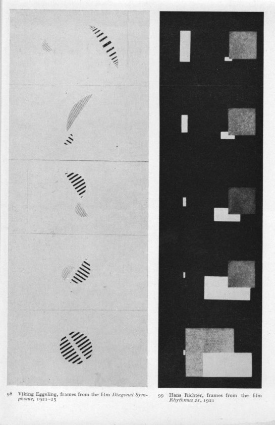 Abstract animation: (L) Diagonal Symphony by Viking Eggeling (R) Rhythmus 21 by Hans Richter. (Click this link to view the Richter film on UbuWeb).