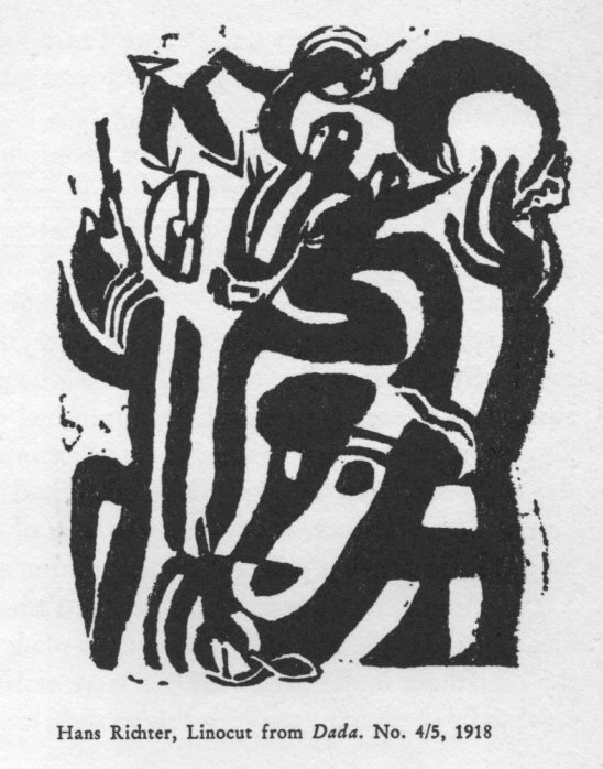 Hans Richter Linocut for Dada magazine.