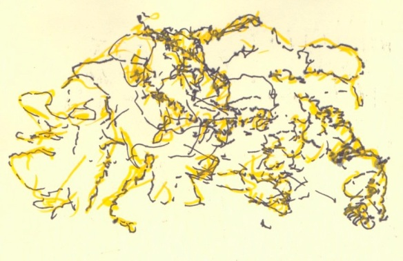Ink drawing#5: Abstract landscape, with uni pin 0.8 Fine Line plus Montana acrylic paint marker 2mm Shock Yellow for October 9th (© 2014 Michael Hill)