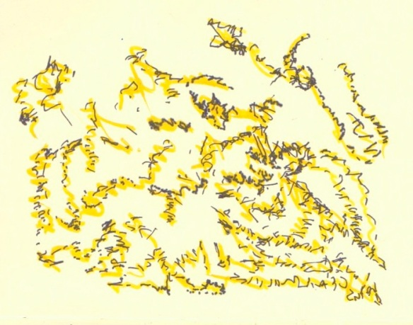 Ink drawing#6: Abstract landscape, with uni pin 0.8 Fine Line plus Montana acrylic paint marker 2mm Shock Yellow for October 11th (© 2014 Michael Hill)