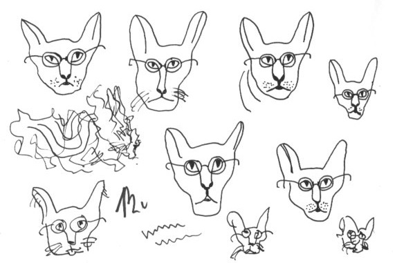 More cat cartooning for the Blotting Paper comic-© 2014 Michael Hill