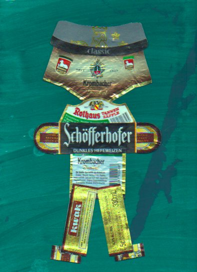 Beer label collage character from Blotting Paper comic-© 2014 Michael Hill