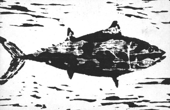 Fish woodcut from way back-© 2002 Michael Hill