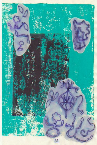 Chapter page, collage of painted paper, woodcut print and ink drawings-© 2015 Michael Hill