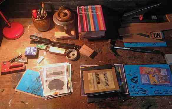 Tabletop work-space pages and tools-photo © 2015 Michael Hill