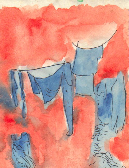 Dirty laundry hung out to dry, ink painting-© 2015 Michael Hill