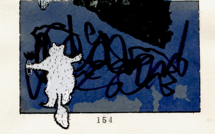 Doing tantrum graffiti on the bedroom wall-pen and ink drawing-© 2012 Michael Hill