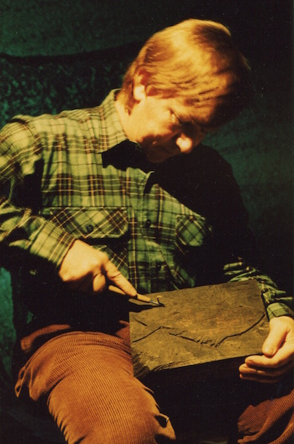 Hand carving one of the woodblocks for the animated film Toxic Fish-Photograph © 1990 Demetra Christopher.